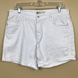 Levis High Waisted White Jean Shorts